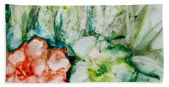 Floating Flowers 3 Hand Towel by Laurie Morgan