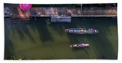 Bath Towel featuring the photograph Floating Market Aerial View by Pradeep Raja PRINTS