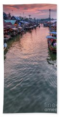 Bath Towel featuring the photograph Floating Market Sunset by Adrian Evans