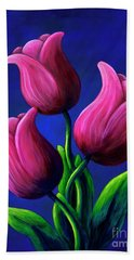 Floating Tulips Hand Towel