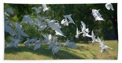 Flock Of Egrets In Flight Bath Towel