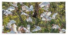 Flock Of Mixed Birds Taking Off Bath Towel