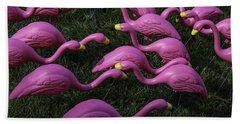 Flock Of  Plastic Flamingos Hand Towel