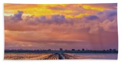 Flooded Field At Sunset Bath Towel