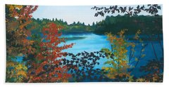 Hand Towel featuring the painting Floodwood by Lynne Reichhart