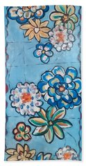 Floor Cloth Blue Flowers Bath Towel by Judith Espinoza