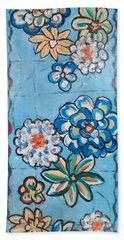 Floor Cloth Blue Flowers Bath Towel