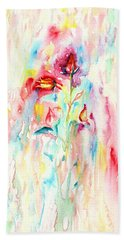 Bath Towel featuring the painting Floral Abstract by Elizabeth Lock