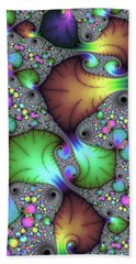 Floral Abstract Fractal Art Green Gold Brown Purple Hand Towel by Matthias Hauser