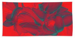 Floral Abstract In Dramatic Red Bath Towel