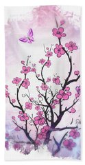 Floral Abstract Painting  Hand Towel