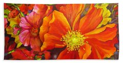 Bath Towel featuring the painting Floral Abundance by Chris Hobel