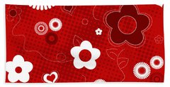 Floral And Hearts Valentine Pattern Bath Towel