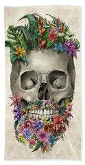 Floral Beard Skull Hand Towel