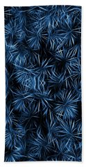 Floral Blue Abstract Hand Towel by David Dehner