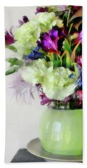 Floral Bouquet In Green Hand Towel