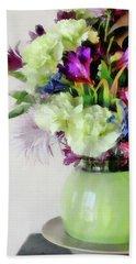 Floral Bouquet In Green Bath Towel