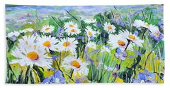 Hand Towel featuring the painting Floral Field by Jodie Marie Anne Richardson Traugott          aka jm-ART