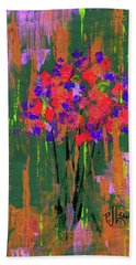 Bath Towel featuring the painting Floral Impresions by P J Lewis