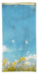 Floral In Blue Sky And Cloud Bath Towel