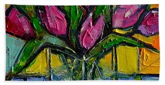 Floral Miniature - Abstract 0615 - Pink Tulips Hand Towel by Mona Edulesco