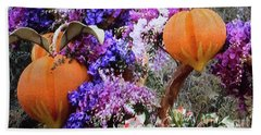 Hand Towel featuring the photograph Floral Peaches by Linda Phelps