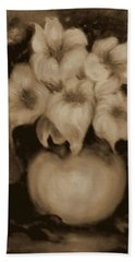 Floral Puffs In Brown Hand Towel