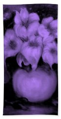 Floral Puffs In Purple Hand Towel
