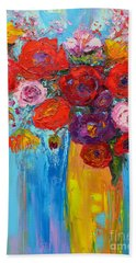 Wild Roses And Peonies, Original Impressionist Oil Painting Bath Towel