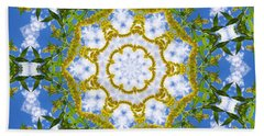 Bath Towel featuring the digital art Floral Sun by Shawna Rowe