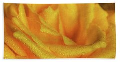 Hand Towel featuring the photograph Floral Yellow Rose Blossom by Shelley Neff