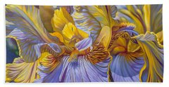 Floralscape 2 - Mauve And Yellow Irises 1 Bath Towel