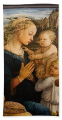 Florence - Madonna And Child With Angels- Filippo Lippi Hand Towel