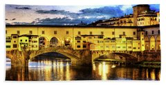 Florence - Ponte Vecchio Sunset From The Oltrarno - Vintage Version Bath Towel