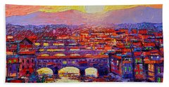 Florence Sunset Over Ponte Vecchio Abstract Impressionist Knife Oil Painting By Ana Maria Edulescu Bath Towel
