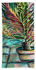 Bath Towel featuring the painting Florescent Palm by Mindy Newman