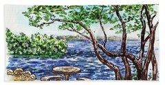 Hand Towel featuring the painting Florida Keys John Pennekamp Park Shore by Irina Sztukowski