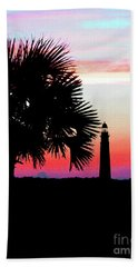 Florida Lighthouse Sunset Silhouette Hand Towel