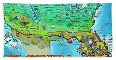Florida Usa Cartoon Map Hand Towel