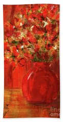 Florists Red Hand Towel by P J Lewis