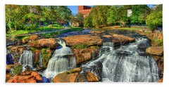 Flow On Reedy River Falls Park Art Greenville Sc Hand Towel by Reid Callaway