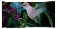 Flower And Hummingbird Hand Towel
