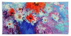 Flower Bouquet Modern Impressionistic Art Palette Knife Work Hand Towel