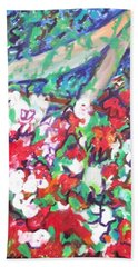Bath Towel featuring the painting Flower Bower by Esther Newman-Cohen