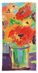 Flower Burst Hand Towel by Terri Einer