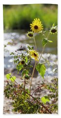 Flower By Stream Hand Towel