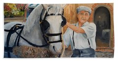 Hand Towel featuring the painting Flower Cart Man by Alan Lakin