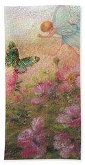 Flower Fairy Butterfly Roses Bath Towel