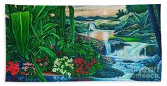 Bath Towel featuring the painting Flower Garden Ix by Michael Frank