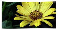 Flower In Yellow Bath Towel by Mikki Cucuzzo